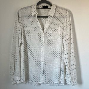 The Limited White Dotted Blouse